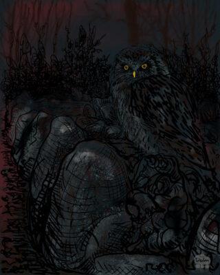 De uil zat op de dolmen