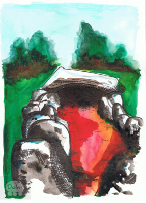 Wedge Tomb; Summer, afternoon, red earth