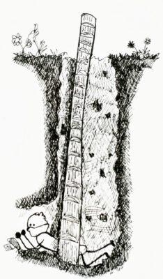 Illustratie afdaling prehistorische vuursteen mijn